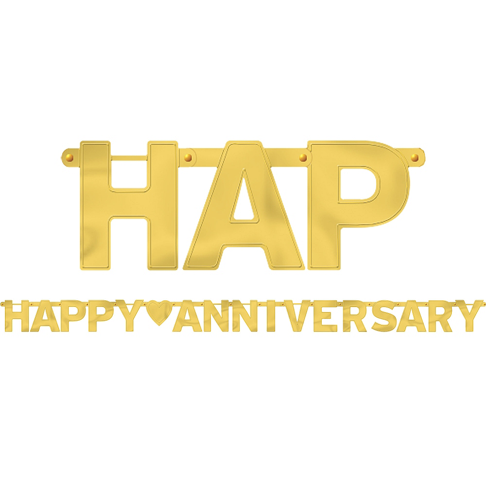 gold happy anniversary letter banner 7 3 4ft x 6 1 4in party city