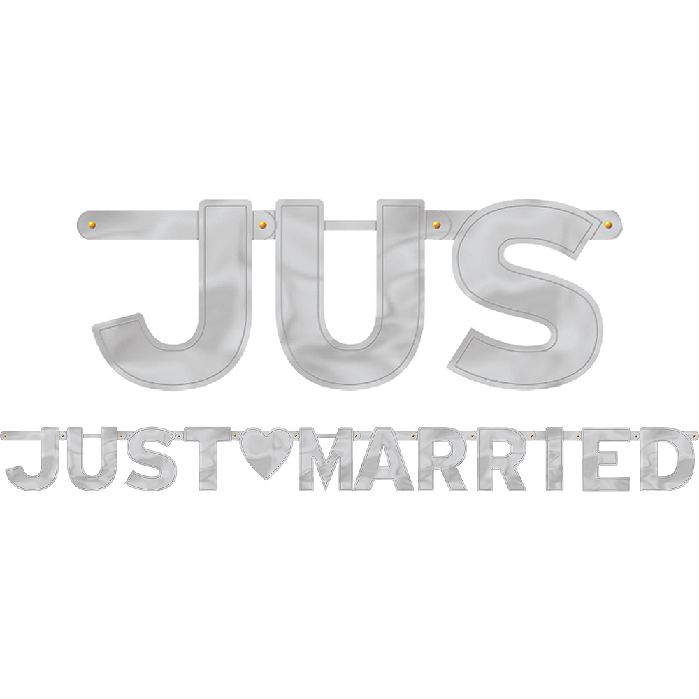 Silver Just Married Letter Banner Image #1