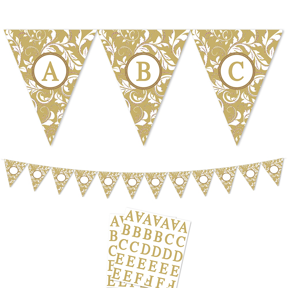 Gold Personalize It Pennant Banner Kit 28pc Image #1