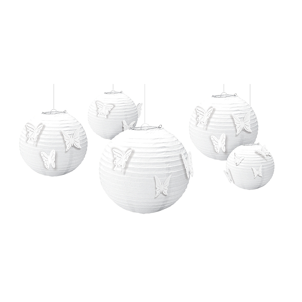 Butterfly White Paper Lanterns Kit 5ct Image #1