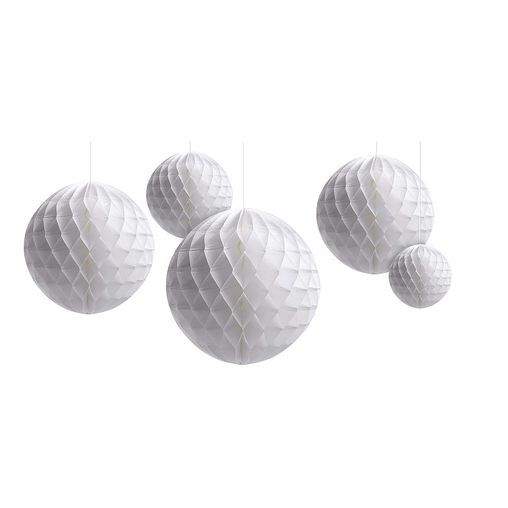 White Honeycomb Balls 5ct Image #1