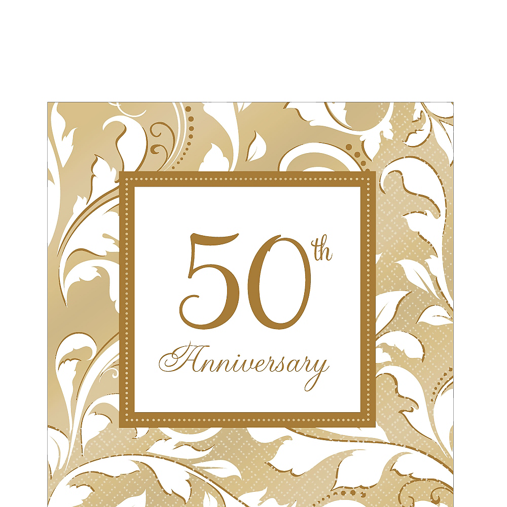 Golden 50th Anniversary Lunch Napkins 16ct Image #1