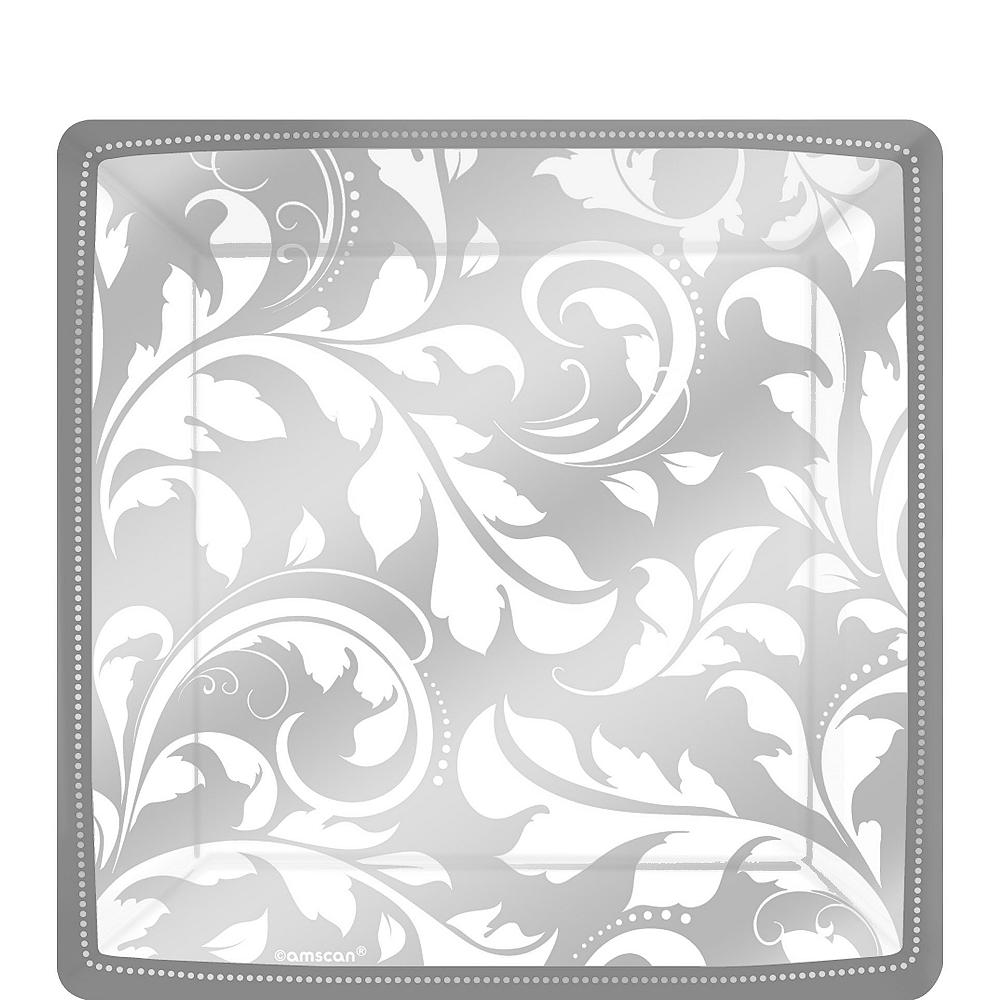 Silver Wedding Dessert Plates 8ct Image #1