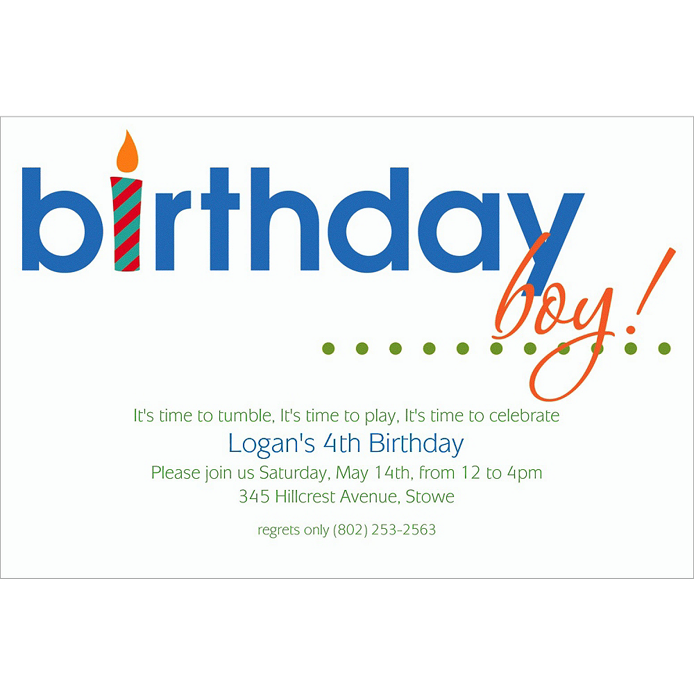 Custom Birthday Boy Text Invitations Image 1