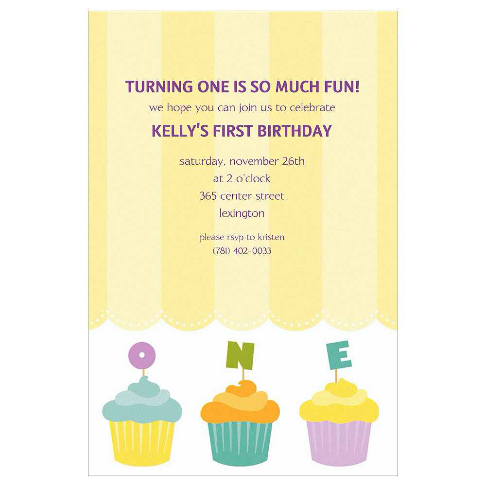 Custom Lined Up Cupcakes Invitations Image #1