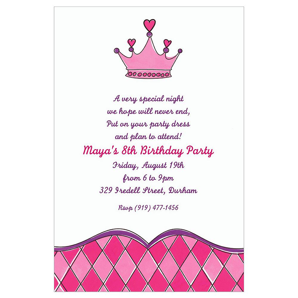 Custom birthday princess crown invitations party city custom birthday princess crown invitations filmwisefo