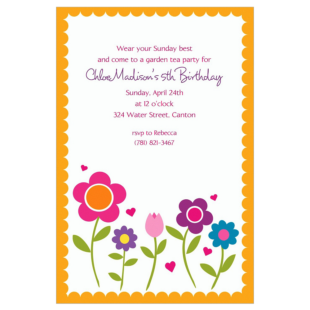 Custom Pretty Flowers with Scallop Invitations Image #1