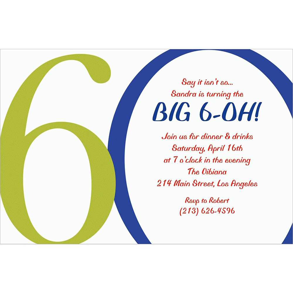 Nav Item for Custom Great Big 60th Invitations  Image #1