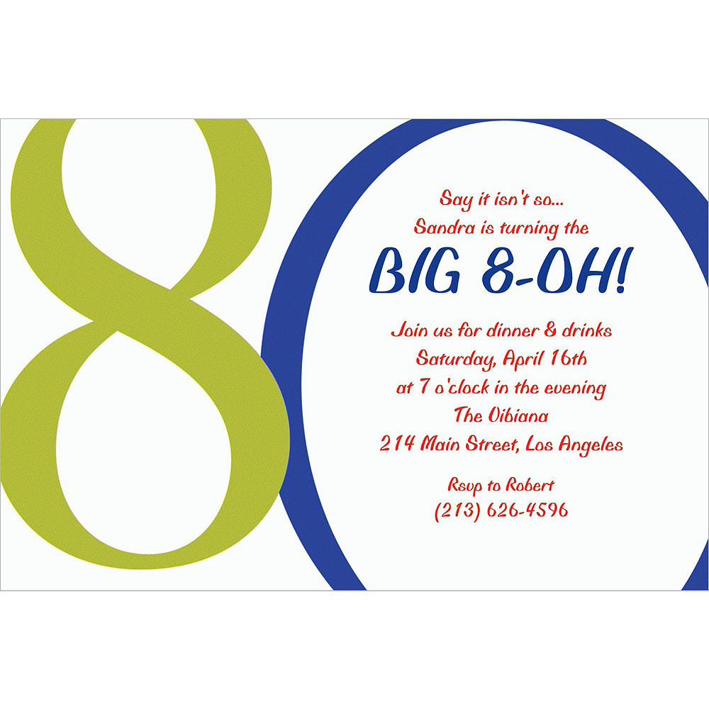 Custom Great Big 80th Invitations Image #1