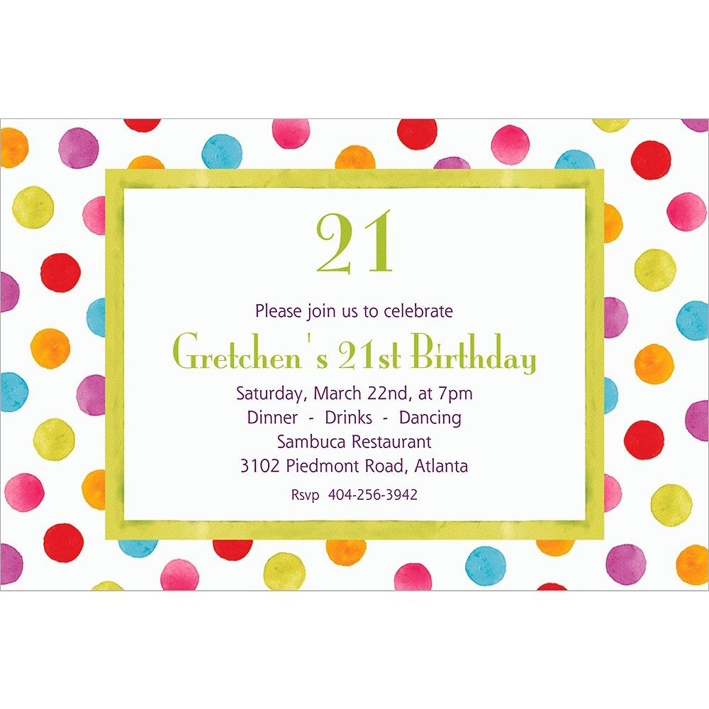 Custom Watercolor Dots Invitations Image #1