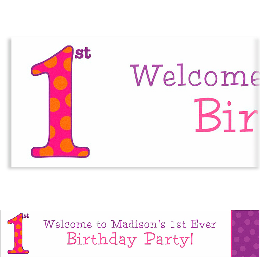 Custom Big 1st Birthday Pink Banner 6ft Image #1