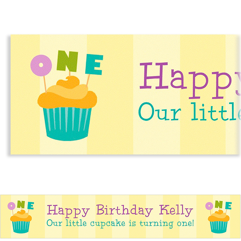 Custom Lined Up Cupcakes Banner 6ft Image #1
