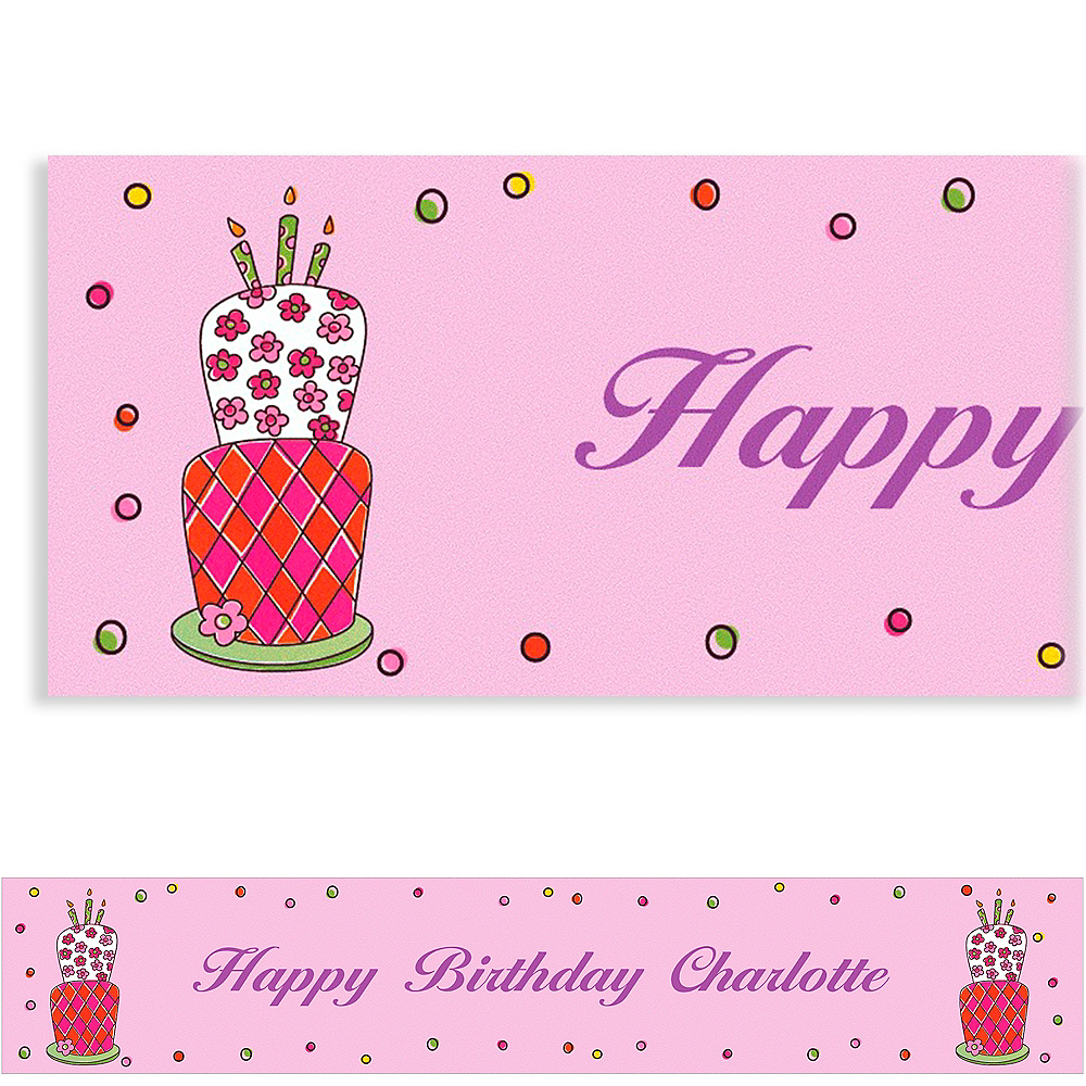 Custom Lovely Birthday Cake Banner 6ft Image #1