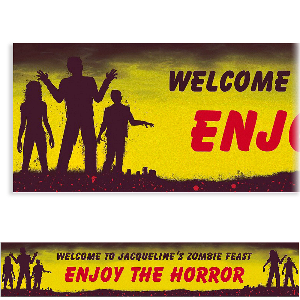 Custom Beware Zombies Halloween Banner 6ft Image #1