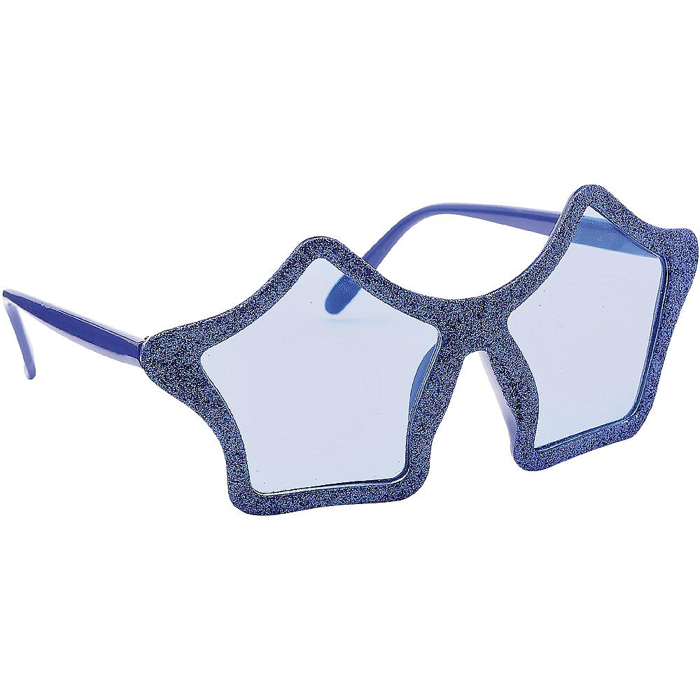Glitter Blue Star Glasses Image #2