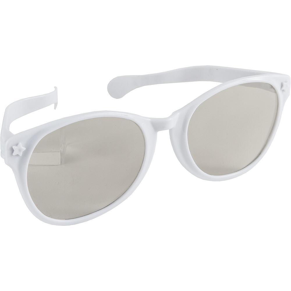 White Giant Fun Glasses Image #2