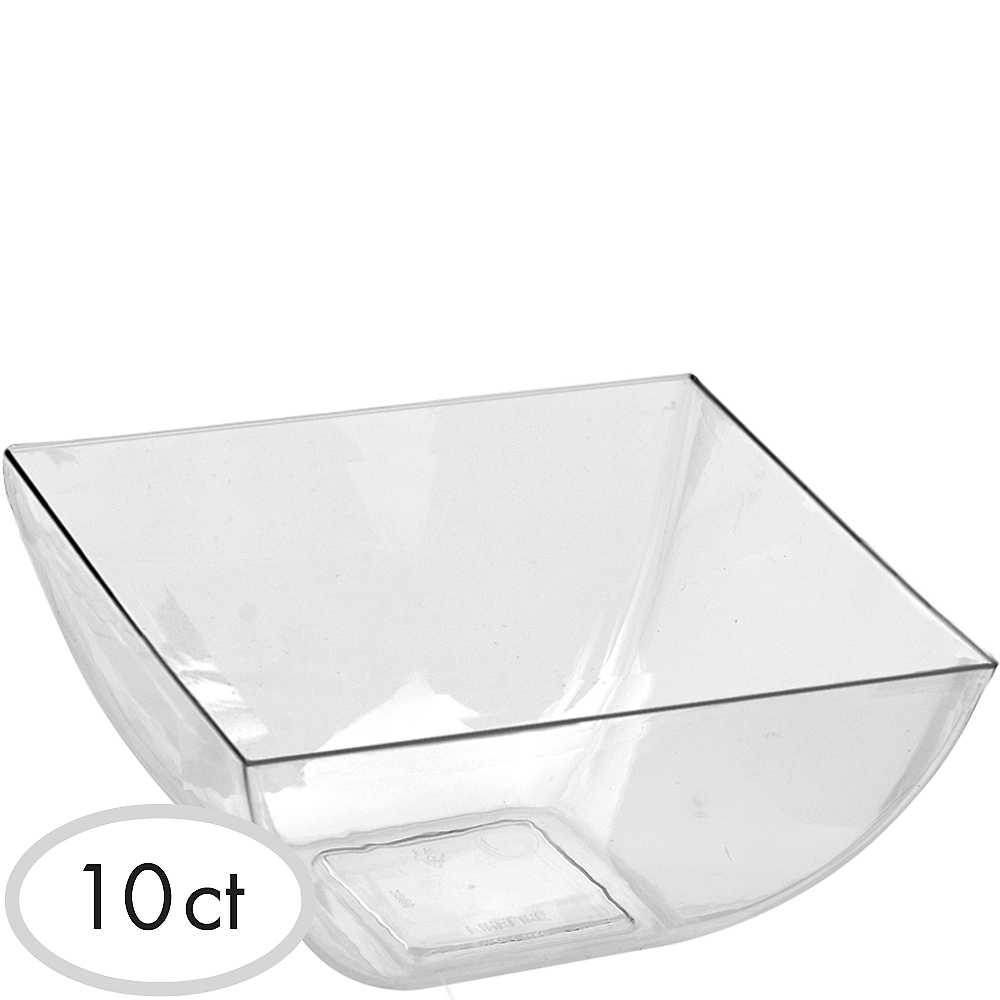 CLEAR Plastic Square Bowls 10ct Image #1