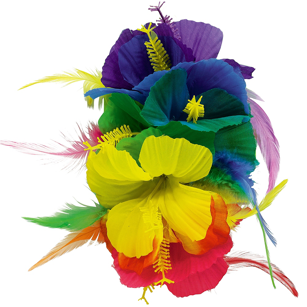 Rainbow Hibiscus Barrette Deluxe Image #1