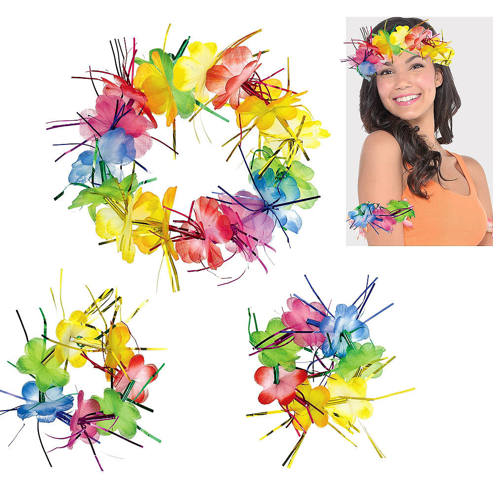 Rainbow Tinsel Head & Wrist Lei Set 3pc Image #1