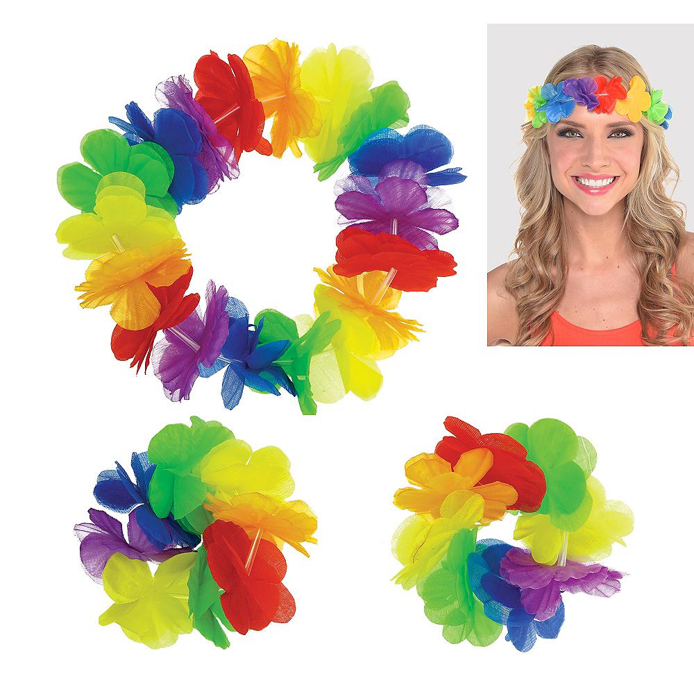Hawaiian Rainbow Head & Wrist Lei Set 3pc Image #1