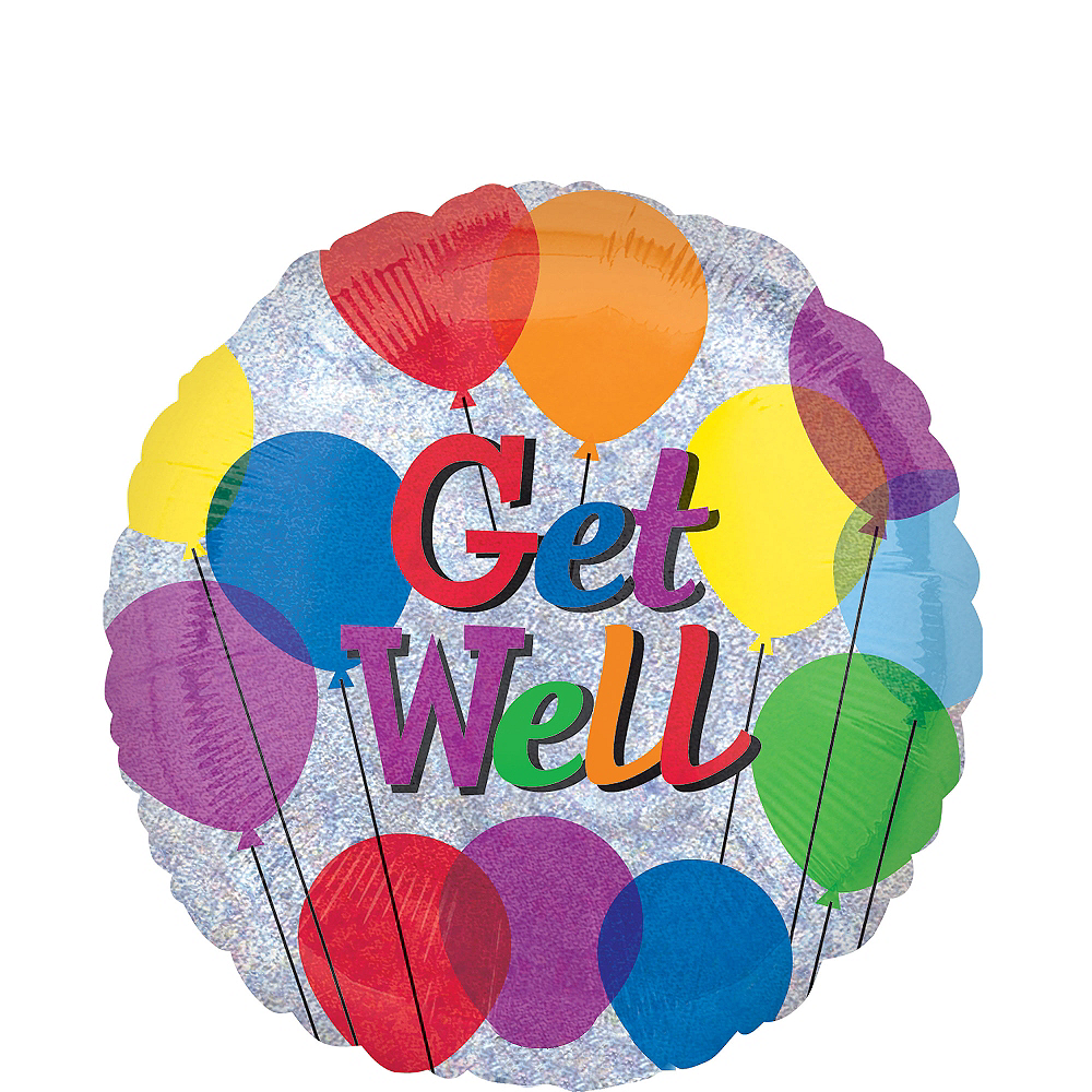 Get Well Balloon - Colorful, 18in Image #1