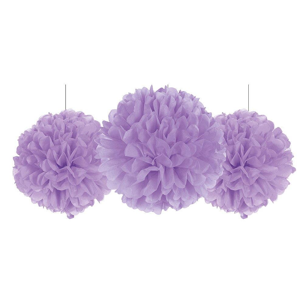 Rounded Lilac Tissue Pom Poms 3ct Image #1