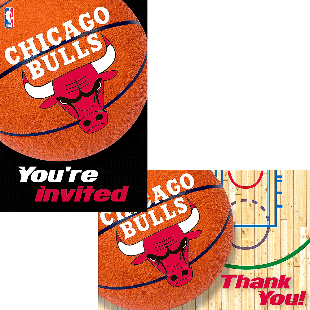 Chicago Bulls Invitations & Thank You Notes for 8 Image #1