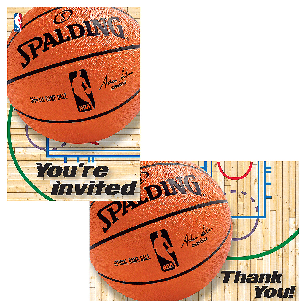 Spalding Basketball Invitations & Thank You Notes for 8 Image #1