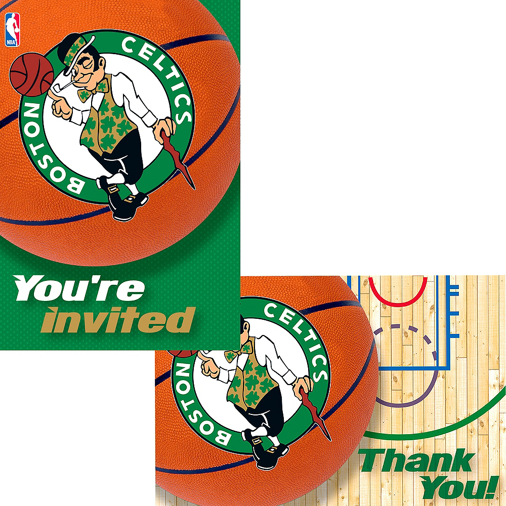 Boston Celtics Invitations & Thank You Notes for 8 Image #1