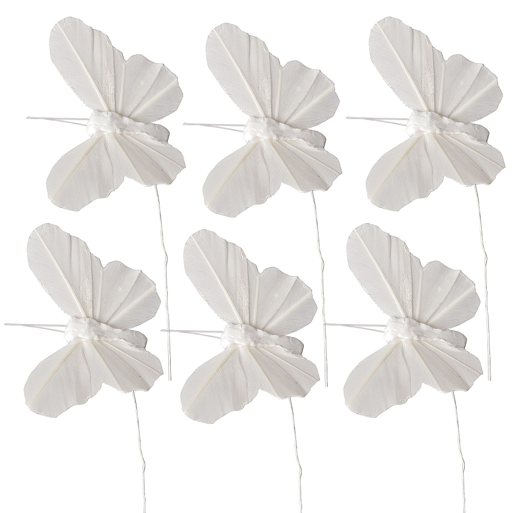 White Feather Butterfly Wedding Favor Ties 6ct Image #1
