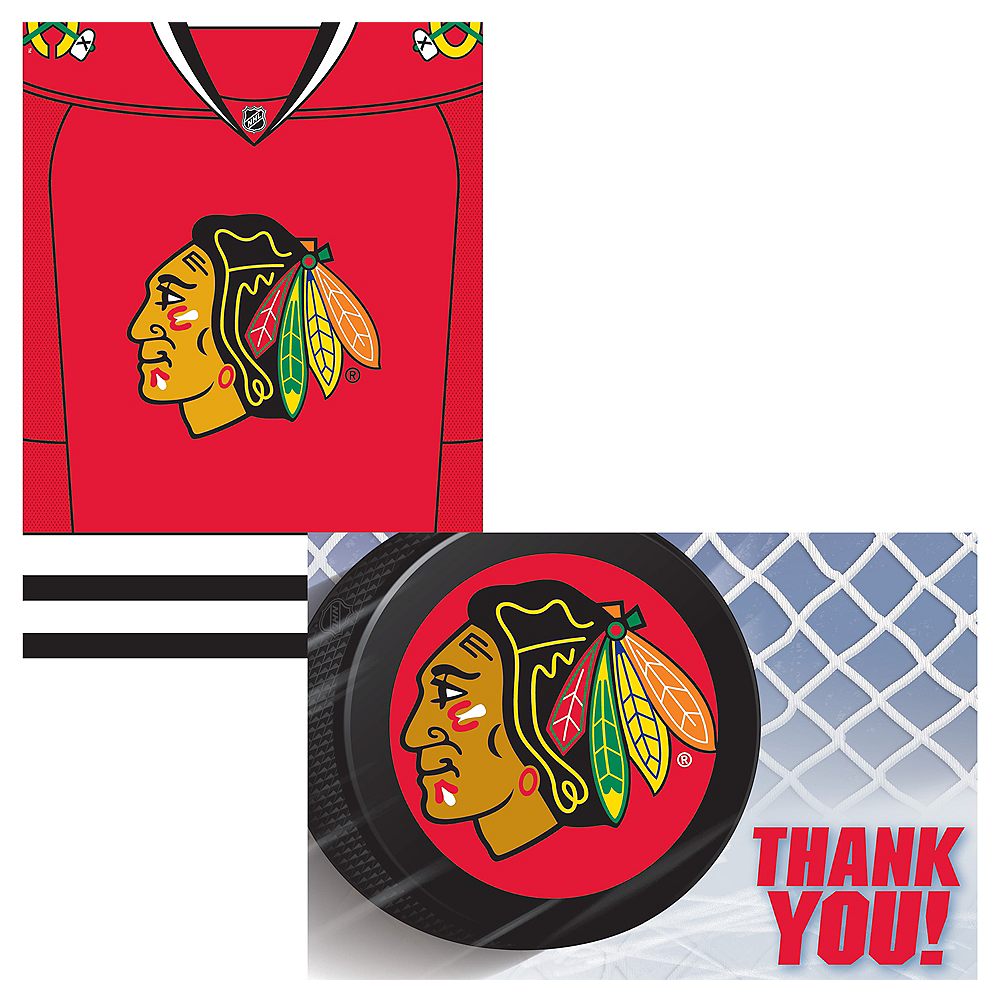 Chicago Blackhawks Invitations & Thank You Notes for 8 Image #1