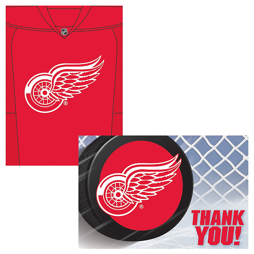 Detroit Red Wings Invitations & Thank You Notes for 8 Image #1