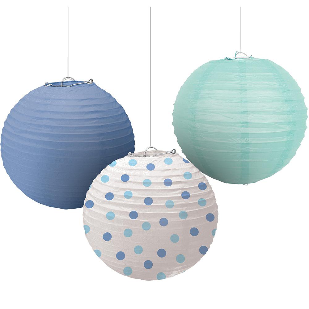 Polka Dot & Blue Paper Lanterns 3ct Image #1