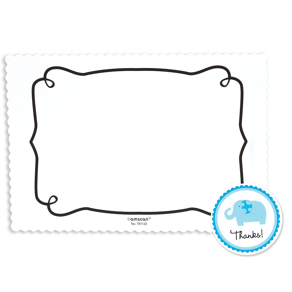 Blue Safari Baby Shower Thank You Notes 20ct Party City
