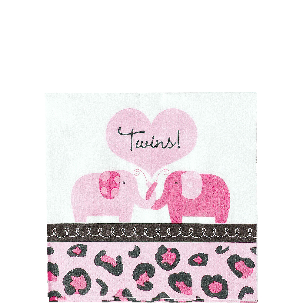 Pink Safari Twins Baby Shower Beverage Napkins 36ct Image #1