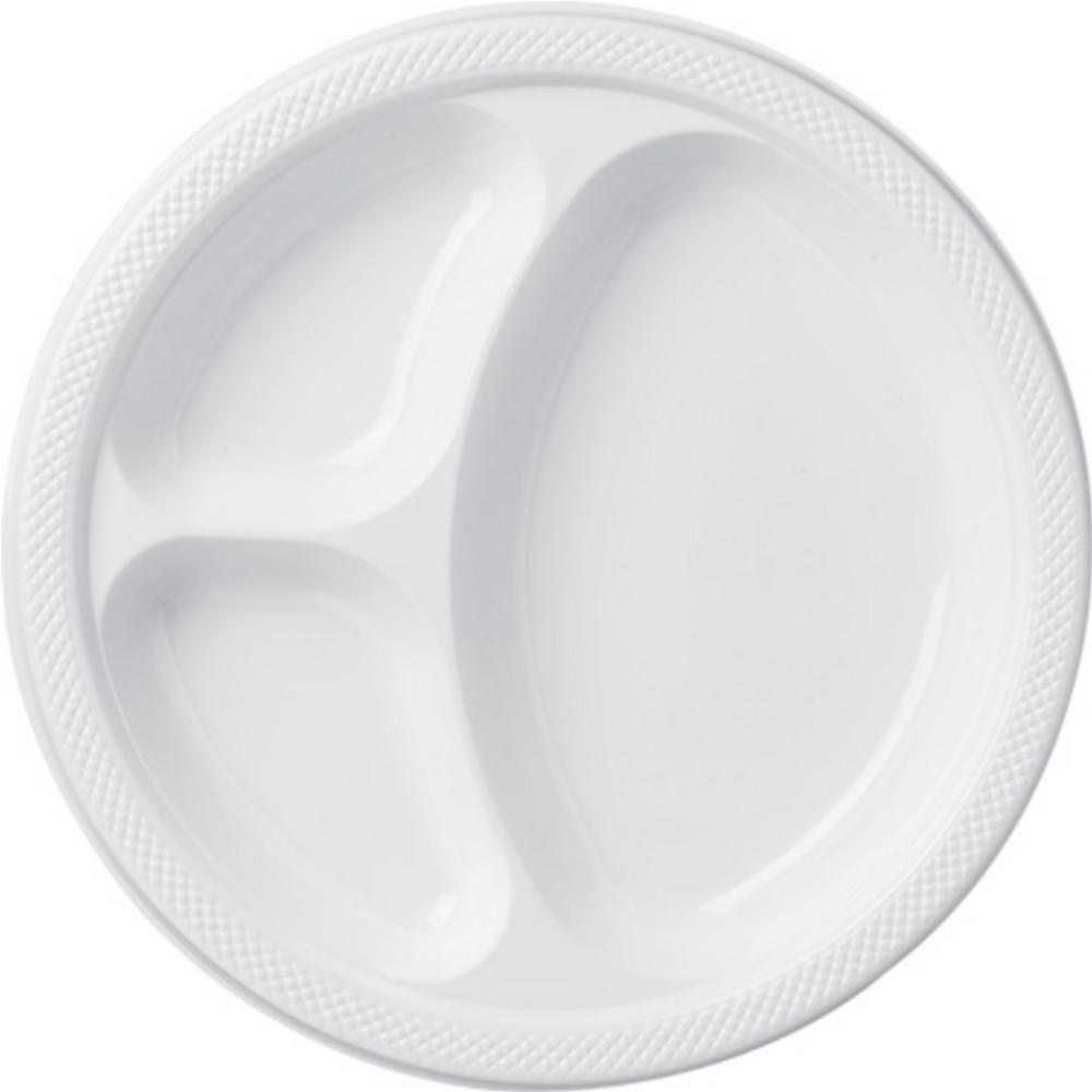 White Plastic Divided Dinner Plates 20ct Image #1
