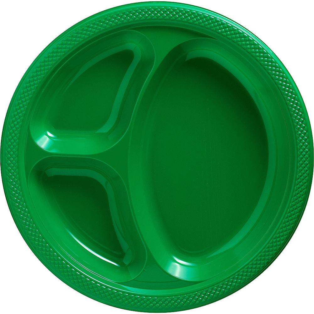 Festive Green Plastic Divided Dinner Plates 20ct Image #1