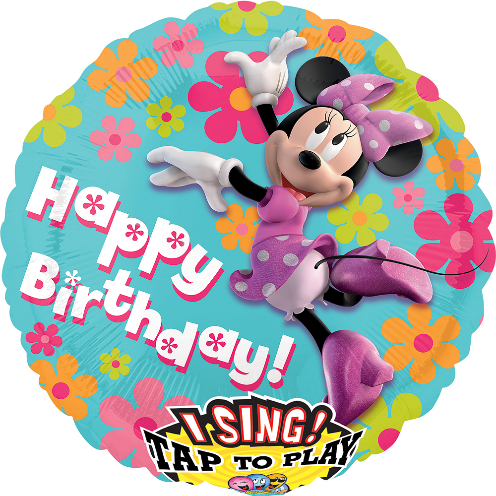 Happy Birthday Minnie Mouse Balloon - Singing Image #1