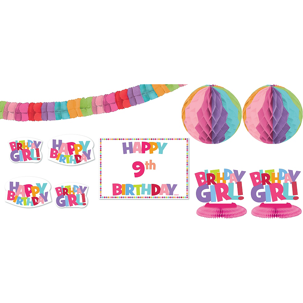 Add an Age Girl Birthday Room Decorating Kit 12pc Image #1