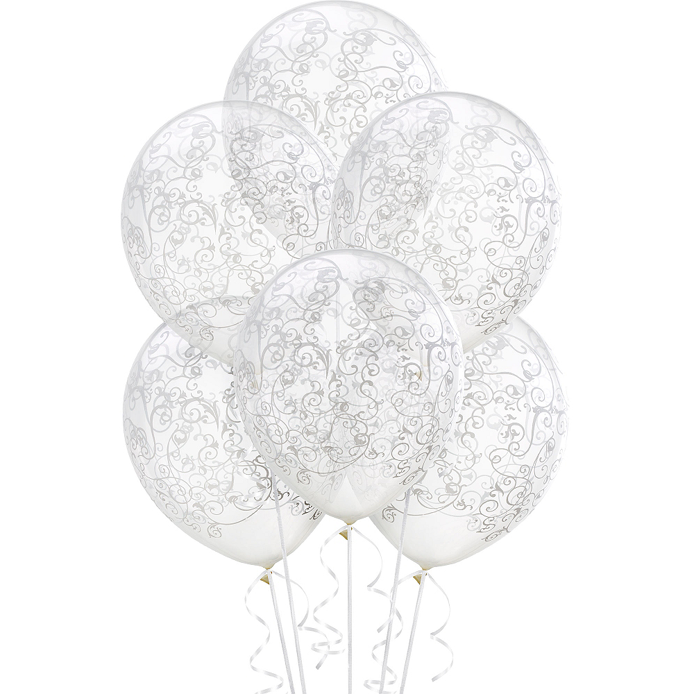 Clear Filigree Balloons 6ct, 12in Image #1