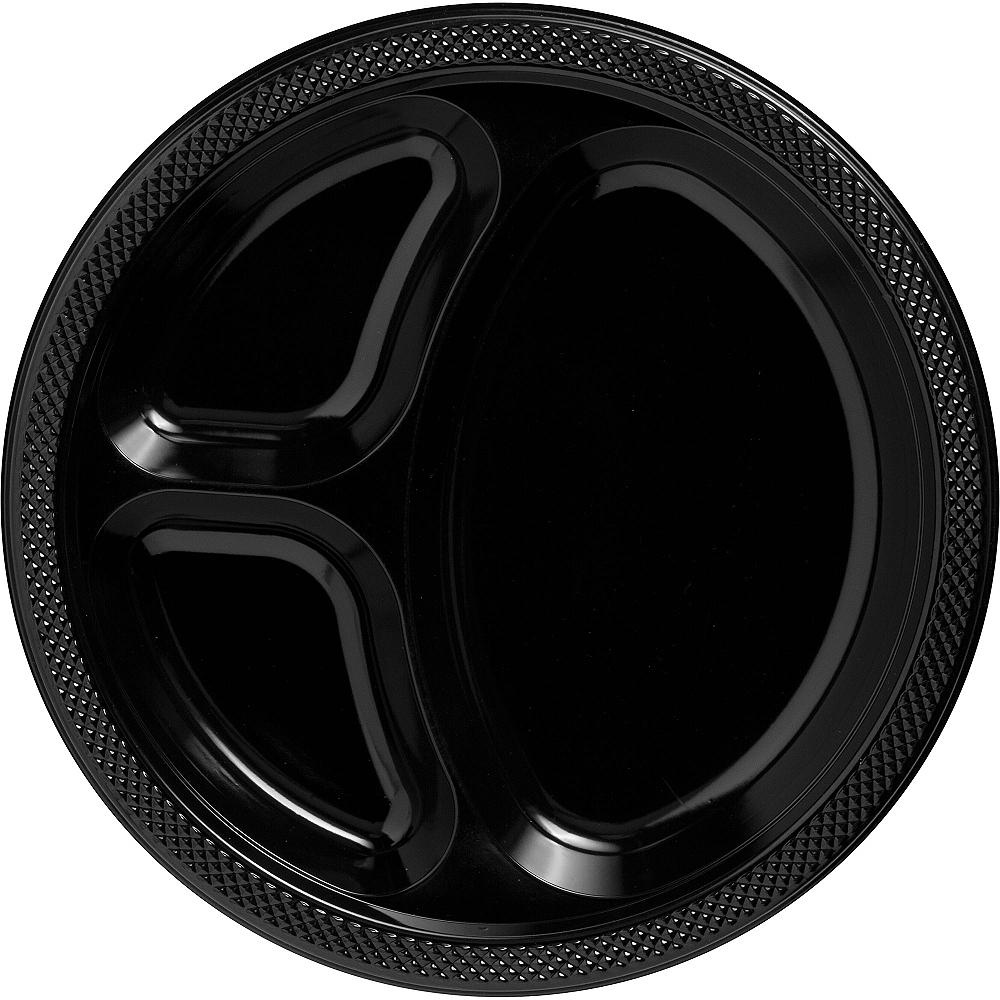 Black Plastic Divided Dinner Plates 20ct Image #1