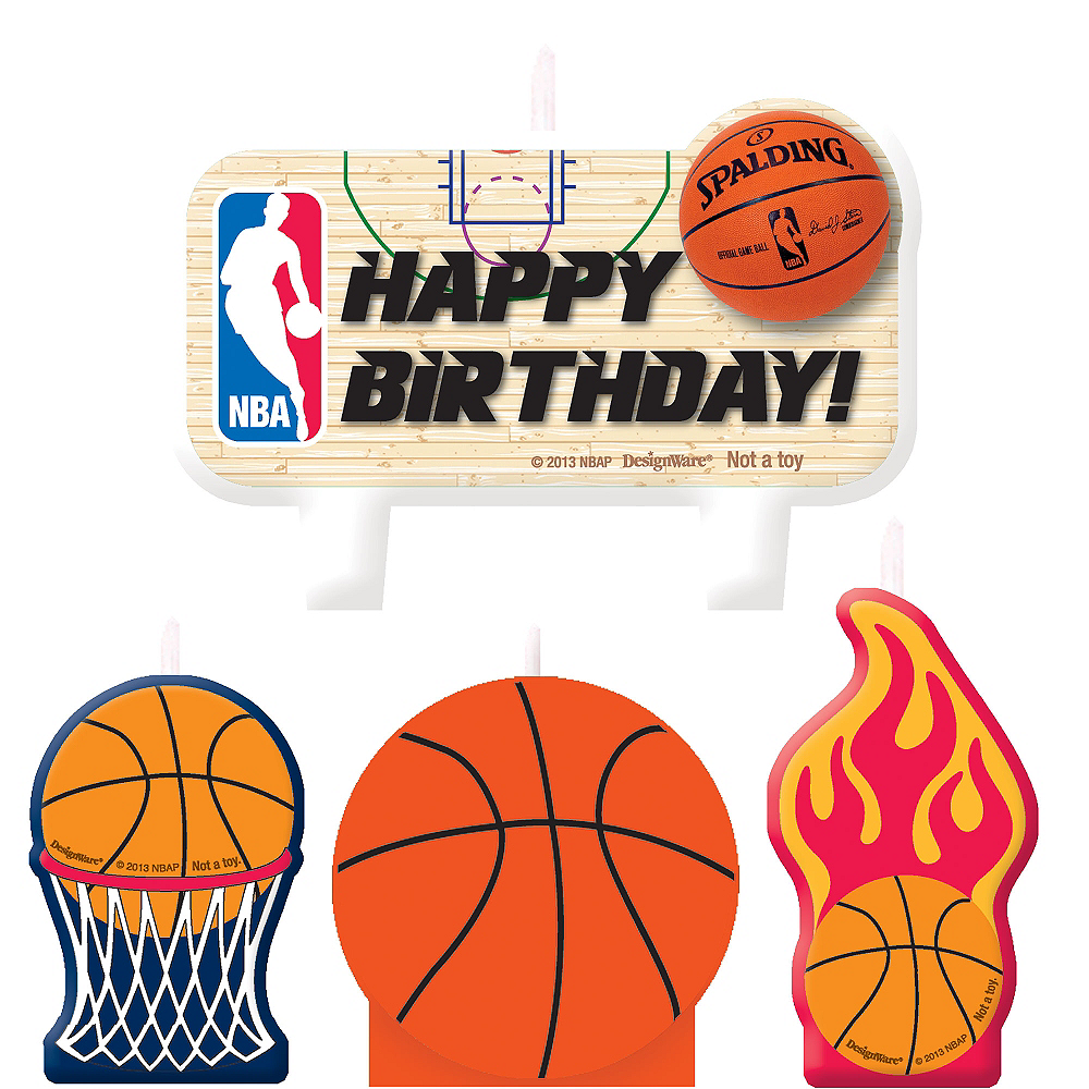 Spalding Basketball Birthday Candles 4ct Image #1