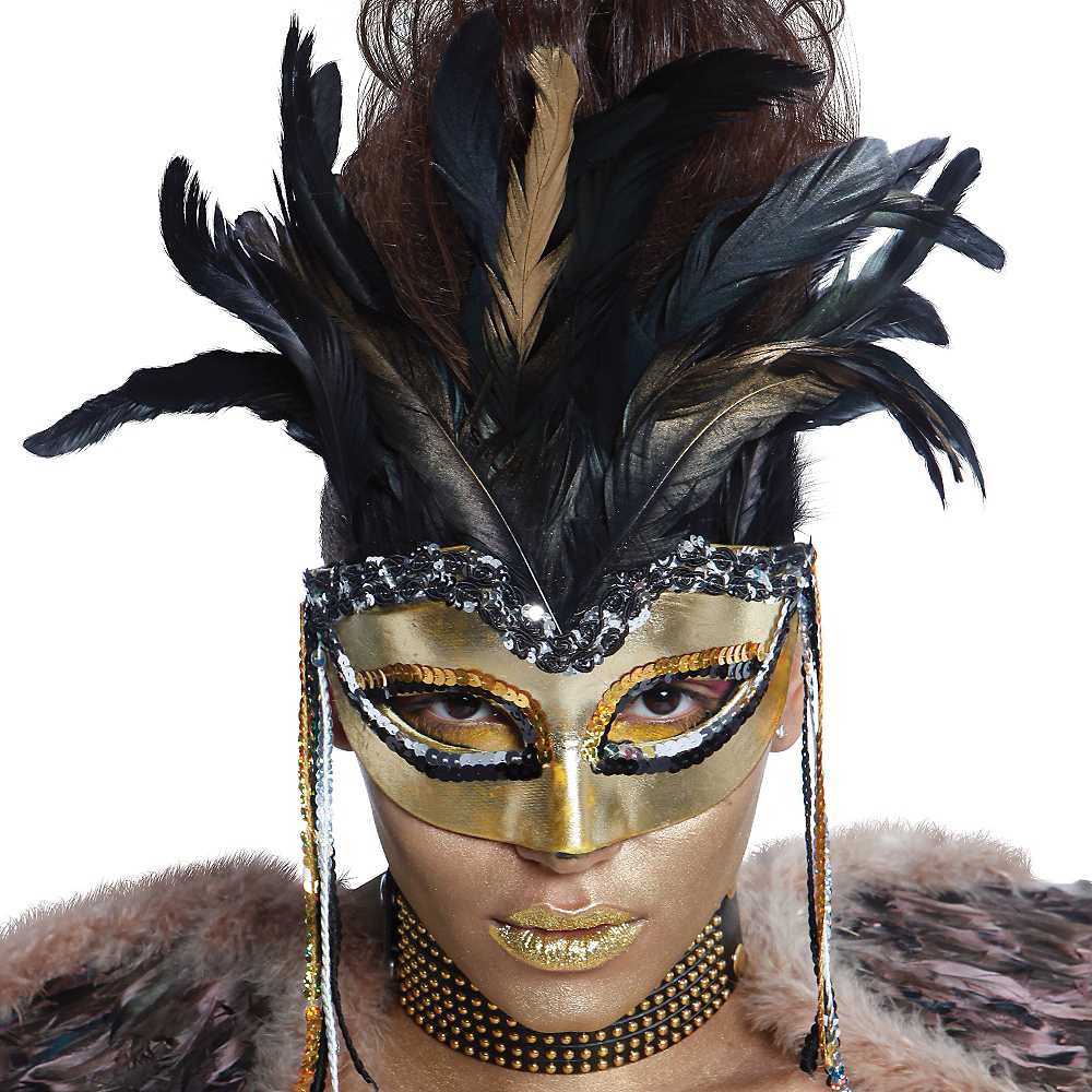 Warrior Goddess Feather Masquerade Mask Image #2