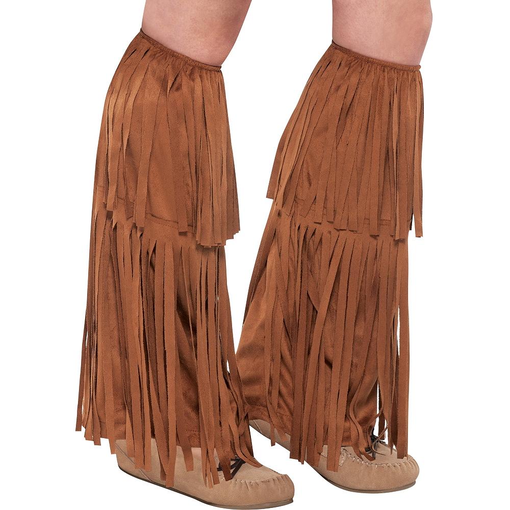 Adult Brown Fringe Leg Warmers Image #1