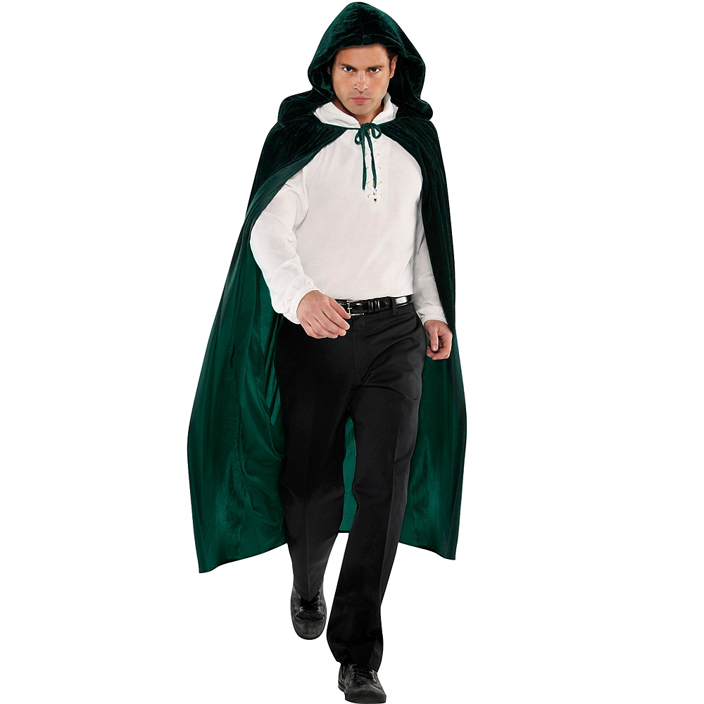 Adult Forest Green Hooded Cape Image #1