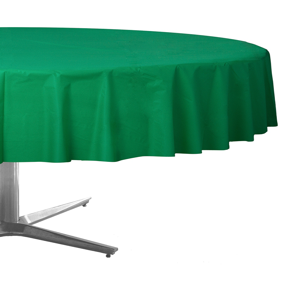 Festive Green Plastic Round Table Cover Image #1