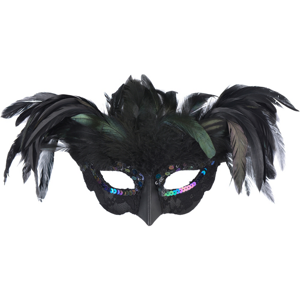Nav Item for Fantasy Raven Feather Masquerade Mask Image #1