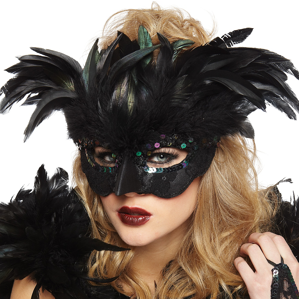 Nav Item for Fantasy Raven Feather Masquerade Mask Image #2