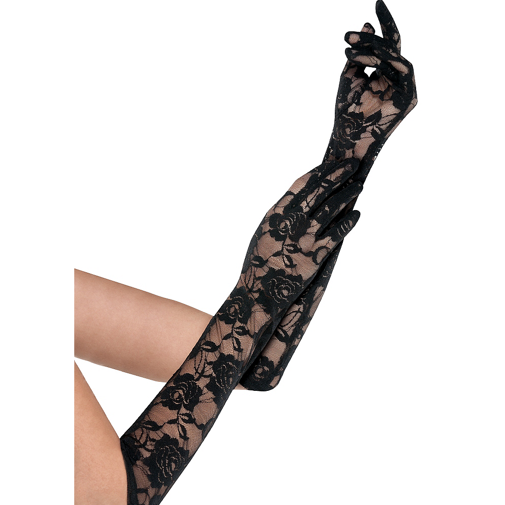 Black Floral Lace Gloves Image #1