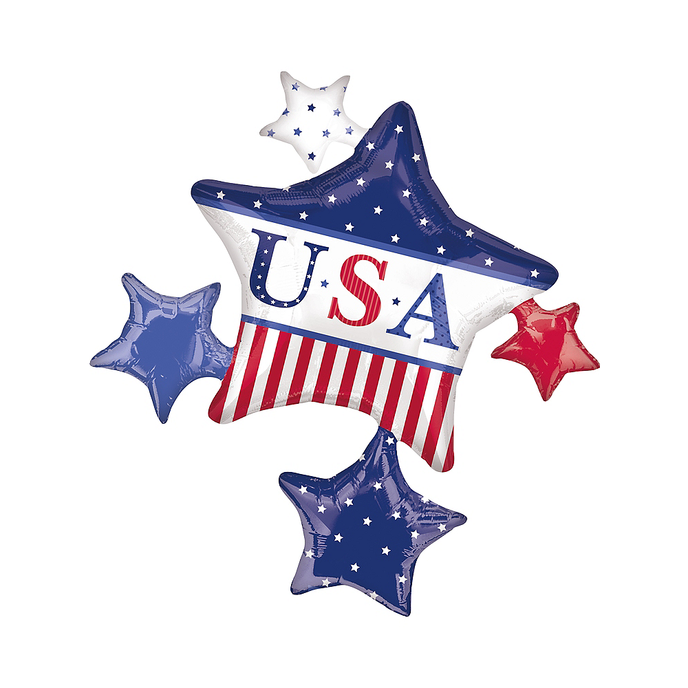 Foil American Classic Star Balloons 32in x 35in Image #1